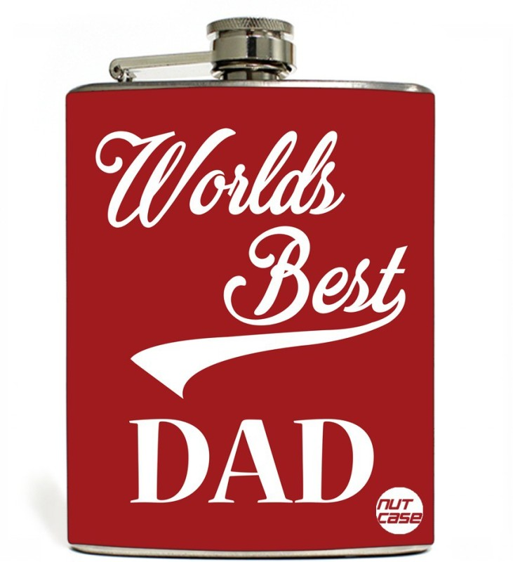 Nutcase Stainless Steel Hip Flask FATHERS DAY - World Best Day Retro - Red