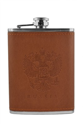 BARWORLD Stainless Steel & Leather Hip Flask