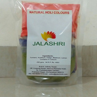 JALASHRI 16610 Holi Color Powder Pack of 5(Red, Yellow, Green, Purple, Orange, 250 g)