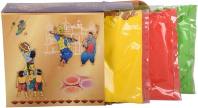 Itiha Holi Skin Friendly Colours- Set of 3 (100 gms each) Holi Color Powder Pack of 3(Red, Yellow, Green, 300 g)