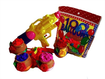 100 Balloons Pichkari, Color, Balloon Holi Combo