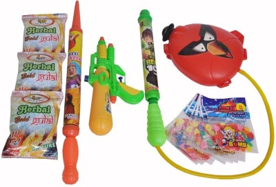 Indigo Creatives Pichkari, Color, Balloon Holi Combo