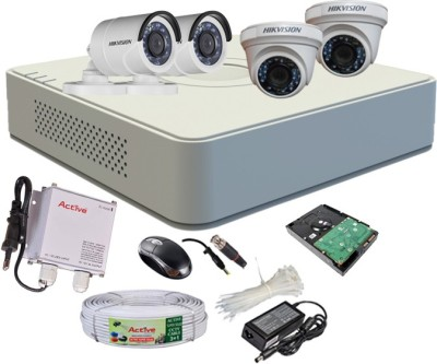 Hikvision DS-7104HGHI-F1 Mini 4CH Dvr, 2(DS-2CE56COT-IR) Dome, 2(DS-2CE16COT-IR) Bullet Camera (With Mouse, 500GB HDD, Bnc&Dc Connectors,Power Supply,Cable)