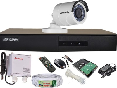 Hikvision DS-7204HGHI-E1 4-Channel Dvr ,1 (DS-2CE16COT-IRF) Bullet Camera (With 500GB H.D,Mouse,Remote,Power Supply,BNC & DC Connectors,Cable)