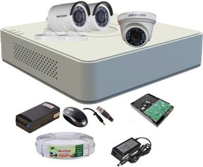 Hik Vision HDTVI Full Combo, Turbo IR Bullet Camera 2Pcs & Dome Camera 1Pcs + Active Cable + F1 Mini DVR+1 TB HDD 4 Channel Home Security Camera(1 TB) at flipkart