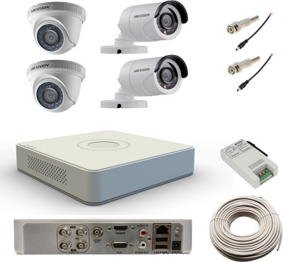 Hikvision DS-7104HWI-SH 4Channel DVR + 2 Bullet +2 Dome CCTV Camera (With Cable, BNC Connectors, DC Pins)