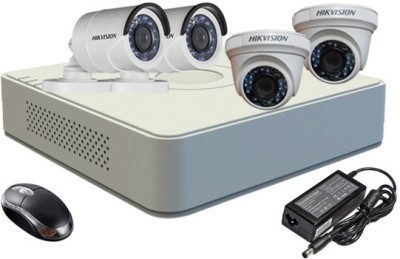 Hikvision DS-7104HGHI-F1 Mini 4CH Dvr, 2(DS-2CE56COT-IR) Dome, 2(DS-2CE16COT-IR) Bullet Camera (With Mouse)