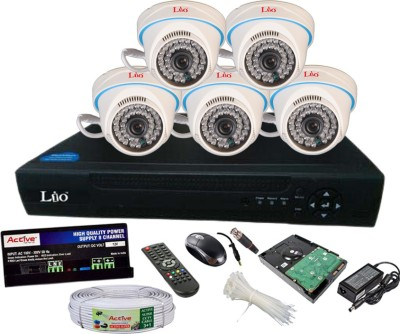 Lio AHD Full Combo, AHD 1.3MP 36IR Dome 5Pcs + CCTV Cable + 1TB HDD + AHD DVR 8 Channel Home Security Camera