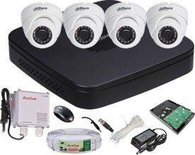 Dahua DH-HCVR4104C-S2 4-Channel Dvr + 4(DH-HAC-HDW1000RP-0360B) Dome Cameras (With 1TB H.D,Mouse,Power Supply,BNC & DC Connectors,Cable)