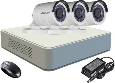 Hikvision DS-7104HGHI-E1 4-Channel Dvr , 3(DS-2CE16C2T-IRP) Bullet Cameras (With Adapter & Mouse)