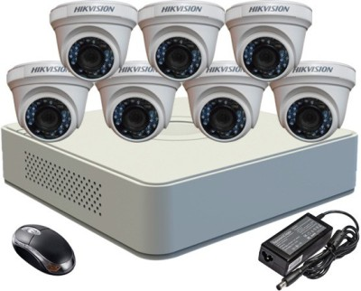 Hikvision DS-7108HGHI-F1 Mini 8CH Dvr, 7(DS-2CE56COT-IR) Dome Cameras (With Mouse)