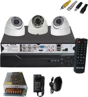 Easy-3-CCTV-Dome-camera-&-4-channel-DVR-kit-Home-Security-Camera-(With-Power-Supply,Software-CD,Mouse)