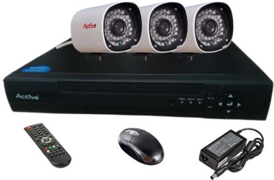 Active Feel Free Life CCTV COMBO KIT, Bullet Camera 36IR 3Pcs + AHD & Analog 4 Channel Home Security Camera