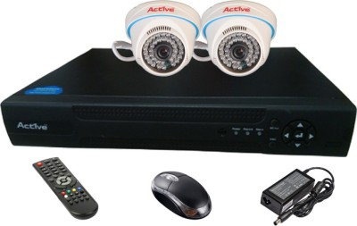 Active Feel Free Life CCTV COMBO KIT, 36IR Dome Camera 2Pcs + Analog & AHD 4 Channel Home Security Camera