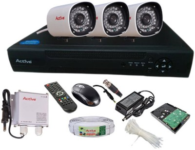Active Feel Free Life CCTV COMBO KIT, 36IR Bullet Camera 3Pcs + Active Cable + 1TB HDD + Analog & AHD 4 Channel Home Security Camera