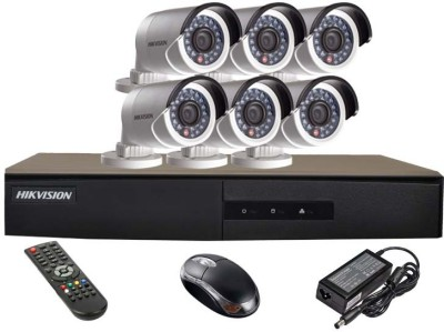Hikvision DS-7208HGHI-E1 8CH Dvr , 6(DS-2CE16COT-IR) Bullet Cameras (with Mouse,Remote)