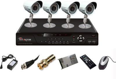 Tentronix T-4AVR-4-B13 4-Channel AHD DVR + 4 (1.3MP 36 IR) Bullet Cameras