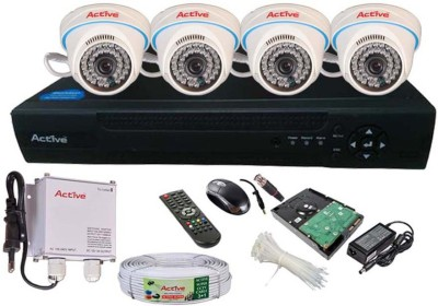 Active Feel Free Life CCTV COMBO KIT, 36IR Dome Camera 4Pcs + Active Cable + 1TB HDD + AHD & Analog 4 Channel Home Security Camera