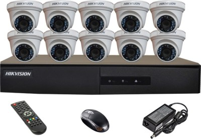 Hikvision DS-7216HGHI-E1 16CH Dvr, 10(DS-2CE56COT-IRP) Dome Cameras (With Mouse, Remote)
