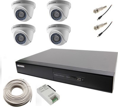 Hikvision DS-7204HGHI-E1 4-CH Dvr, 4(DS-2CE56COT-IR) Dome Cameras (With Cable,Power Supply,Bnc&Dc Connectors)