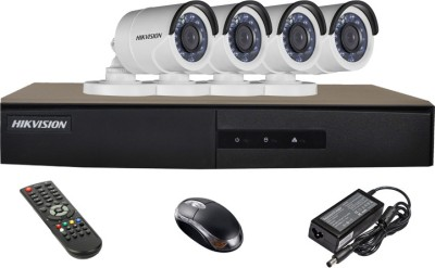 Hikvision DS-7204HGHI-E1 4CH Dvr , 4(DS-2CE16C2T-IRP) Bullet Cameras(With Mouse,Remote,Adapter)