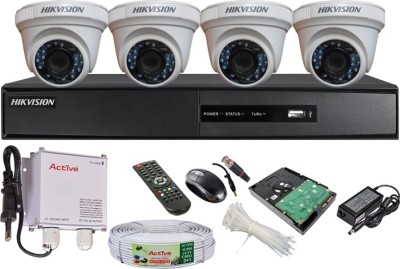 Hikvision DS-7204HGHI-SH 4CH Dvr, 4(DS-2CE56COT-IR) Dome Cameras (With Mouse, Remote, 500GB HDD , Bnc&Dc Connectors,Power Supply,Cable)