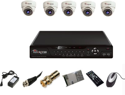 Tentronix T-8AVR-5-D10 8-Ch Dvr, 5 (1 MP) Dome CCTV Cameras