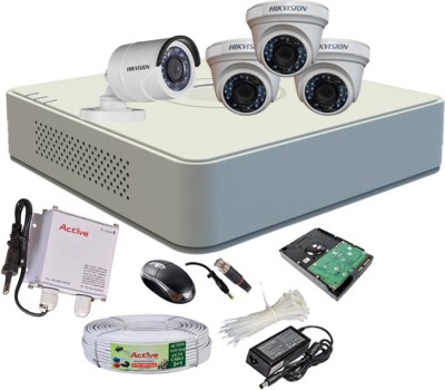 Hikvision DS-7104HGHI-F1 Mini 4CH Dvr, 3(DS-2CE56COT-IR) Dome, 1(DS-2CE16COT-IR) Bullet Camera (With Mouse, 500 GB HDD, Bnc&Dc Connectors,Power Supply,Cable)