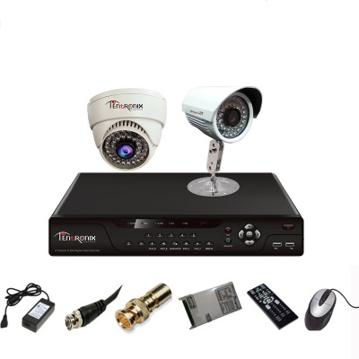 Tentronix T-4AVR-2-DB10 4Channel AHD DVR + 1 (1 MP 36 IR) Bullet + 1 (1 MP 36 IR) Dome Cameras