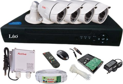 LIO AHD Full Combo, AHD 1MP Bullet Camera 4Pcs + CCTV Cable + 500GB HDD + AHD DVR 4 Channel Home Security Camera