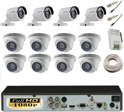 Hikvision Hybrid Video Recorder Dome Camera 8Pcs And Bullet Camera 4Pcs 16 Channel Home Security Camera