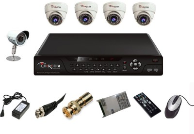 Tentronix T-8AVR-5-D4B10 8-Channel AHD DVR + 4 (1 MP 36 IR Dome ) + 1 (1 MP 36 IR Bullet) Cameras