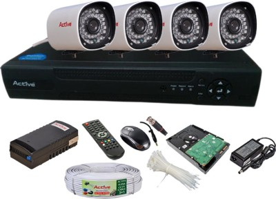 Active Feel Free Life CCTV COMBO KIT, 36IR Bullet Camera 4Pcs + Active Cable + 500GB HDD + Analog & AHD 4 Channel Home Security Camera