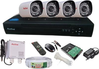 Active Feel Free Life CCTV COMBO KIT, 800TVL Bullet Camera 4Pcs + 500GB HDD + Analog & AHD 4 Channel Home Security Camera