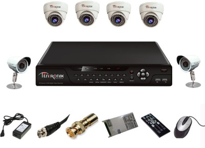 Tentronix T-8AVR-6-D4B210 8- Channel Dvr 4 (1 MP) Dome 2 (1 MP )Bullet Cameras