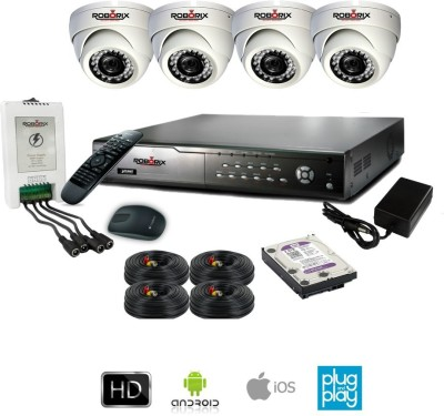 ROBORIX 4D-SD800WK 4-Channel Dvr, 4(800 TVL) Dome CCTV Cameras (With Accessories)