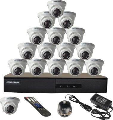 Hikvision 16CH-DS-7216HGHI-E1 Turbo 16 Channel Dvr 16 Dome CCTV Cameras (With Mouse, Remote, Power Adopter)