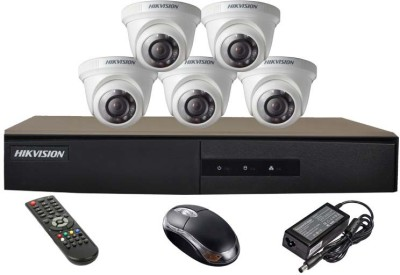 Hikvision-DS-7208HGHI-E1-8CH-Dvr,-5(DS-2CE56COT-IR)-Dome-Camera(with-Mouse,Remote)