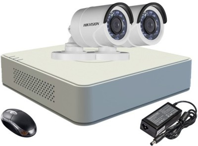 Hik Vision HDTVI Combo, DS2CE16COT-IRPF Bullet 2Pcs + HD Mini DVR 4 Channel Home Security Camera at flipkart