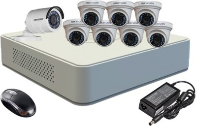 Hikvision DS-7108HGHI-F1 Mini 8CH Dvr, 7(DS-2CE56COT-IR) Dome,1(DS-2CE16COT-IR) Bullet Camera (With Mouse)