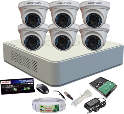 Hik Vision Full Combo, DS-2CE56COT-IRP Dome Camera 6Pcs + Active Cable + 1TB HDD + HD Mini DVR 8 Channel Home Security Camera(1 TB) at flipkart