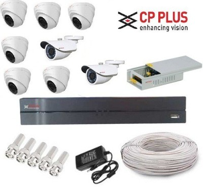 CP PLUS CP-8-6D-2B-PCW 8-Channel Dvr, 6 HD Dome, 2 HD Bullet Cameras (With Accessories)