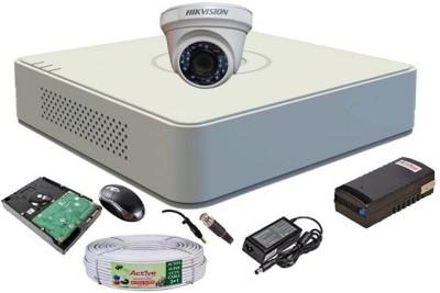 Hik Vision HDTVI Full Combo, DS-2CE56COT-IR Dome Camera 1Pcs + 1TB HDD + Active Cable + F1 Mini DVR 4 Channel Home Security Camera(1 TB) at flipkart