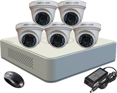 Hik Vision HDTVI Combo, DS-2CE56COT-IRF Dome Camera 5Pcs + F1 Mini DVR 8 Channel Home Security Camera at flipkart