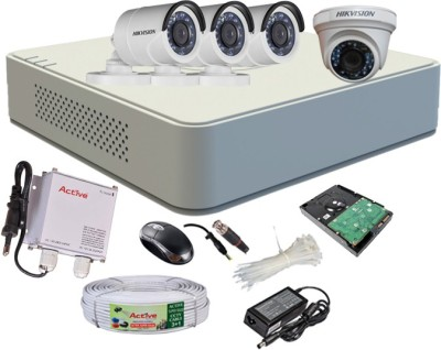 Hikvision DS-7104HGHI-F1 Mini 4CH Dvr, 3(DS-2CE16COT-IR) Bullet, 1(DS-2CE56COT-IR) Dome Cameras (with Mouse, 1TB HDD, Bnc&Dc connectors,Power Supply,Cable)