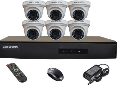 Hikvision DS-7208HGHI-E1 8-CH Dvr, 6(DS-2CE56COT-IRP) Dome Camera(with Mouse,Remote)