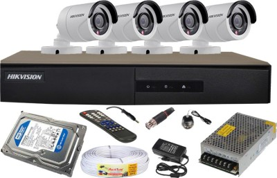 Hikvision-4CH-DS-7204HGHI-E1-Turbo-4-Channel-Dvr-4-Bullet-CCTV-Cameras-(With-500GB-H.D,Mouse,Remote,Power-Supply,BNC-&-DC-Connectors,Power-Adopter,Cable)