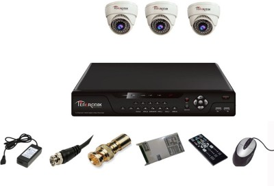 Tentronix T-4AVR-3-D10 4Channel AHD DVR + 4 (1 MP 36 IR) Dome Cameras