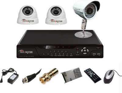 Tentronix T-4AVR-3-DB13 4-Channel AHD Dvr, 2(1.3MP) Dome, 1(1.3MP) Bullet Cameras