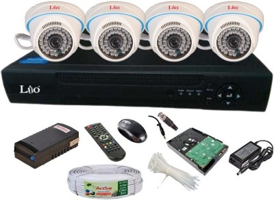 Lio AHD Full Combo, 1MP AHD Dome Camera 4pcs + CCTV Cable + 1TB HDD + LIO AHD DVR 4 Channel Home Security Camera
